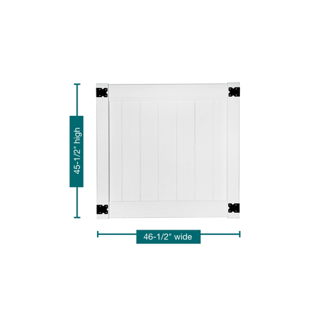 "A profile picture of the gate on a white background outlining the measurements. This gate is 45-1/2"" tall and 46-1/2"" wide."