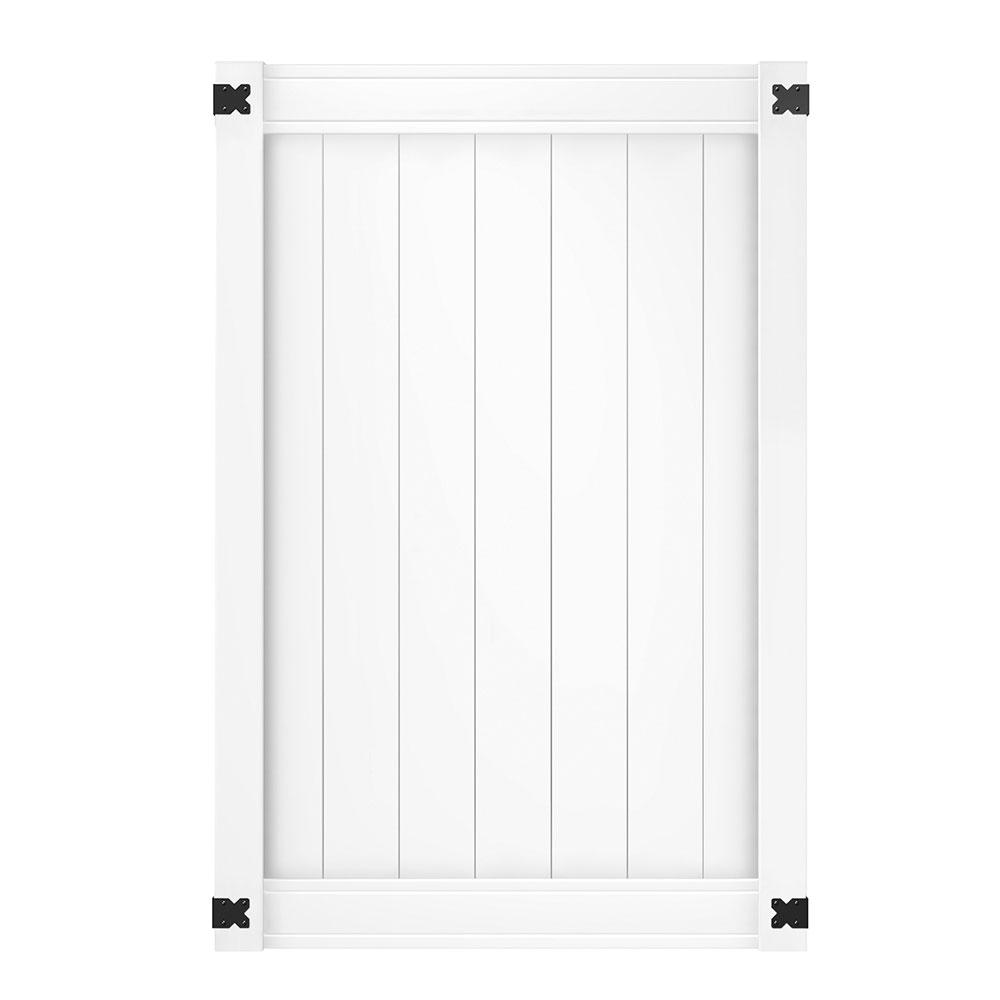 Pro Series 4 ft. W x 6 ft. H White Vinyl Woodbridge Privacy Fence Gate Internet # 202544237