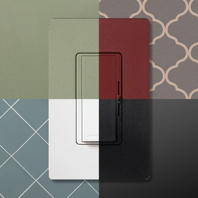 Dimmers shown in variety of colors and put against different wallpapers