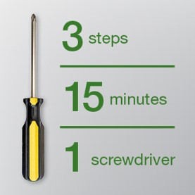 Number of steps, time and tools needed for installation