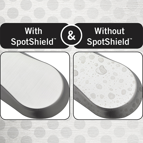 Image depicts a comparison between a faucet with SpotShield technology (no water spots) and without the technology (with water spots)