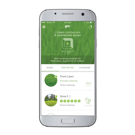 Mobile device showing the Zones feature on Gro Connect App.