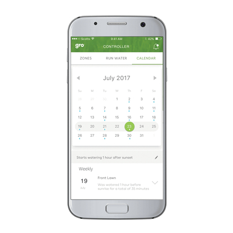 Mobile device showing the Calendar feature on Gro Connect App.