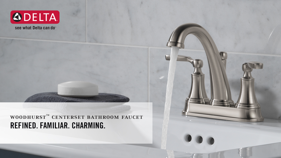 "Image depicts a faucet with water running and text ""Refined. Familiar. Charming."""