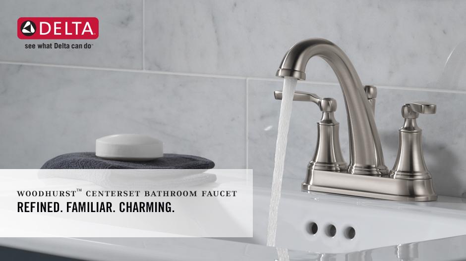 Delta Porter 4 In Centerset 2 Handle Bathroom Faucet With: Delta Woodhurst 4 In. Centerset 2-Handle Bathroom Faucet