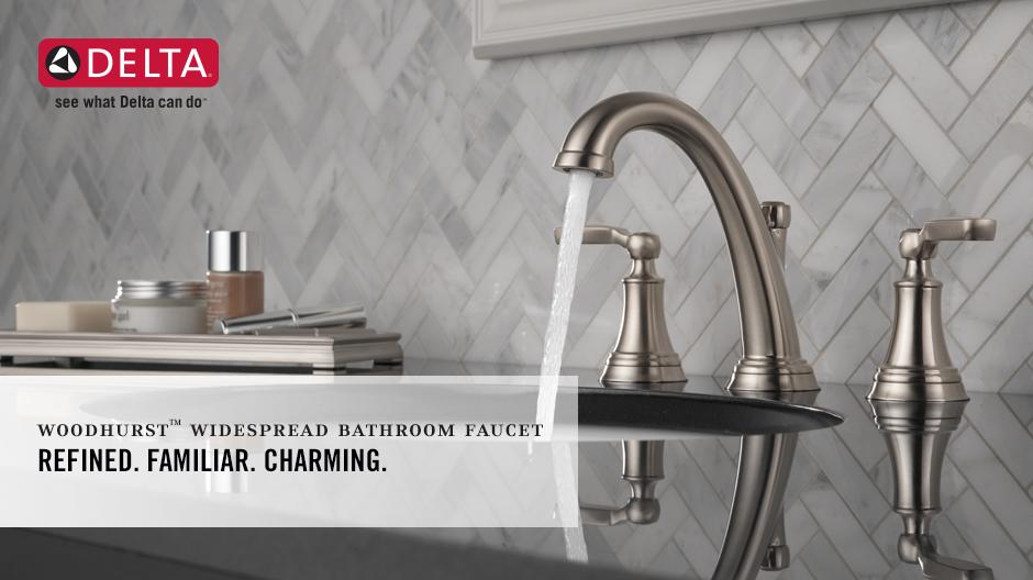 Delta Porter 8 In Widespread 2 Handle Bathroom Faucet In: Delta Woodhurst 8 In. Widespread 2-Handle Bathroom Faucet