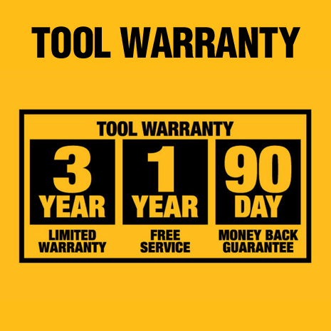 3-Year Limited Warranty, 1-Year Free Service and 90-Day Money Back Guarantee.