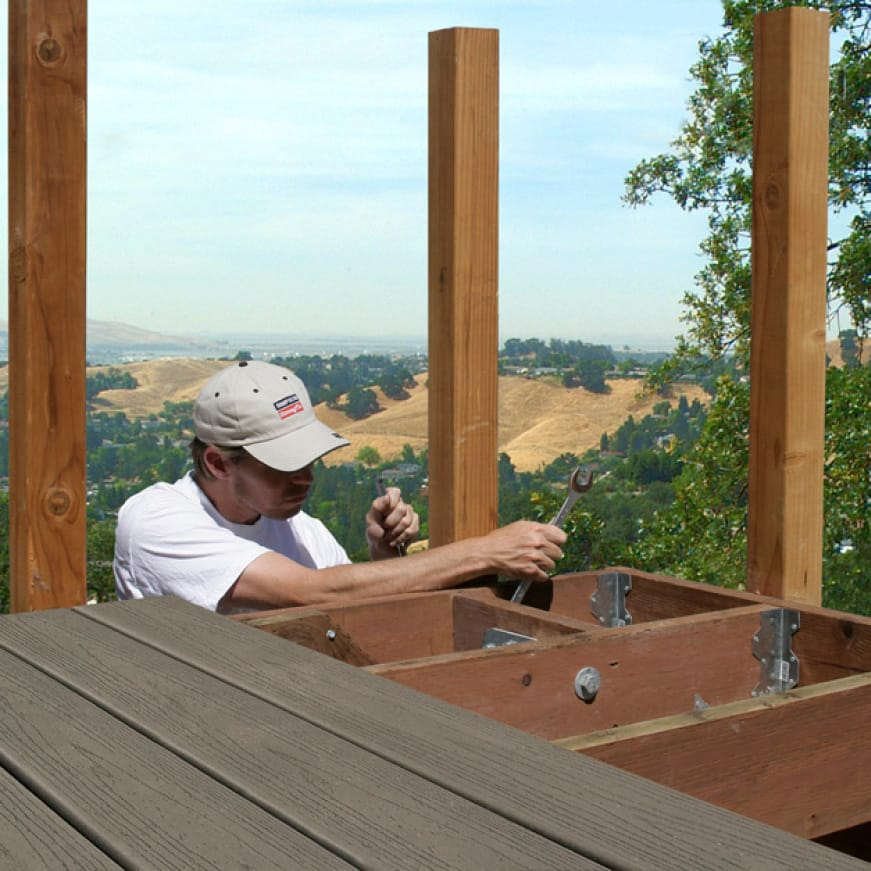 Photo of a deck being built