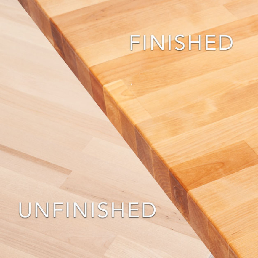 Common Unfinished Birch Butcher Block sealing and finishing options are mineral oils or conditioners and polyurethane based lacquers