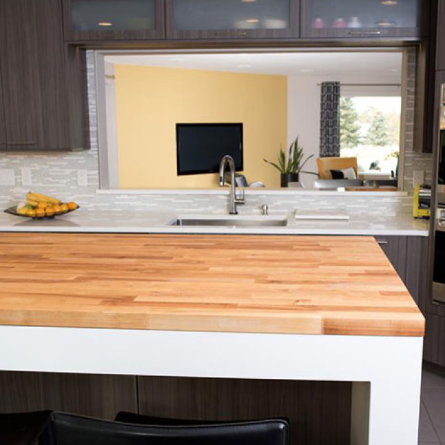 Your Hardwood Reflections Birch Butcher Block can be installed as a kitchen island or a table top.