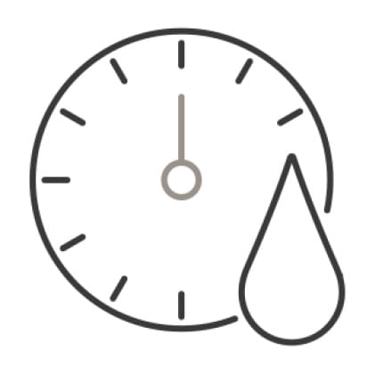 An icon of a clock with a drop of water superimposed in the corner, demonstrating the 60 minute wash cycle.