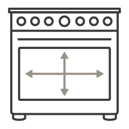 An icon of the range.Arrows measure the capacity of the oven's cavities.