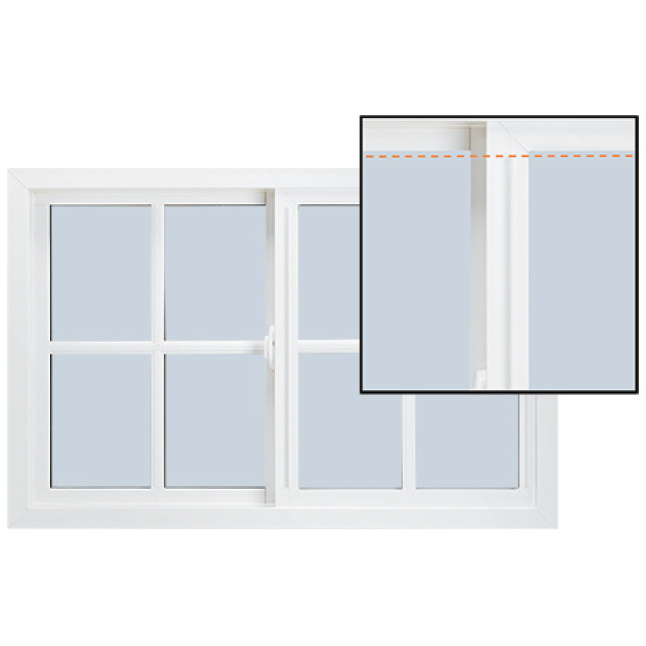 V-4500 Awning window with corner sample next to it