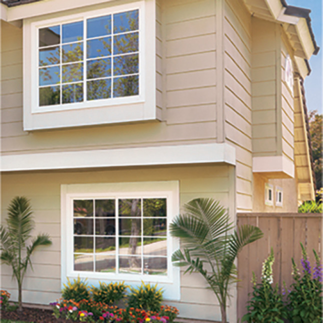 Exterior of home with vinyl windows