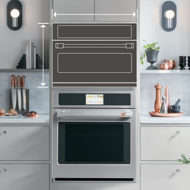 Lines draw an outline of an advantium oven in a modern kitchen.Arrows on the edges measure the area of the appliance
