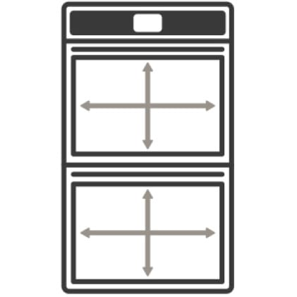 An icon of a wall oven.Arrows measure the capacity of the oven's cavity.