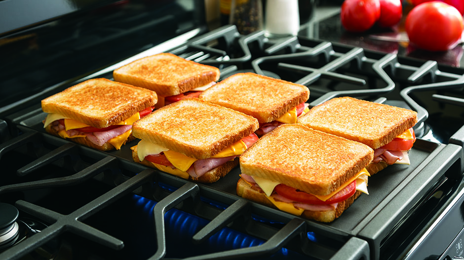 Cook up to six grilled cheeses at once on the industry's largest integrated griddle.