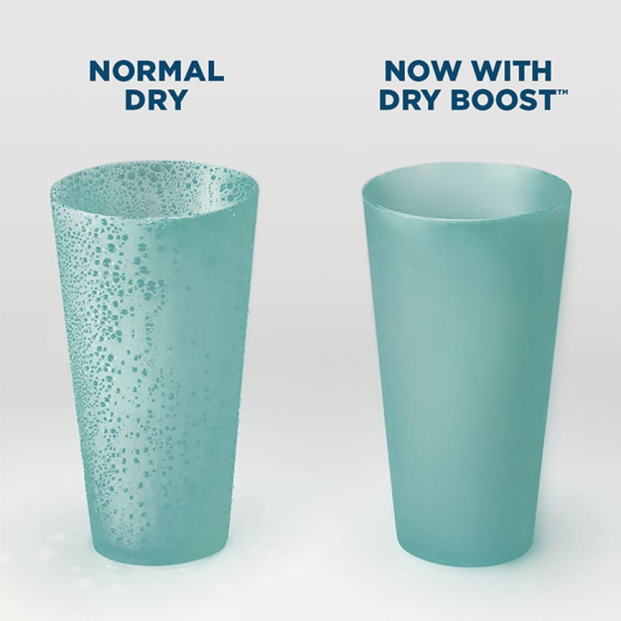 Two cups sit next to each other after running through separate cycles.The normal-dry cup still has water droplets, but the dry boosted cup is dry.