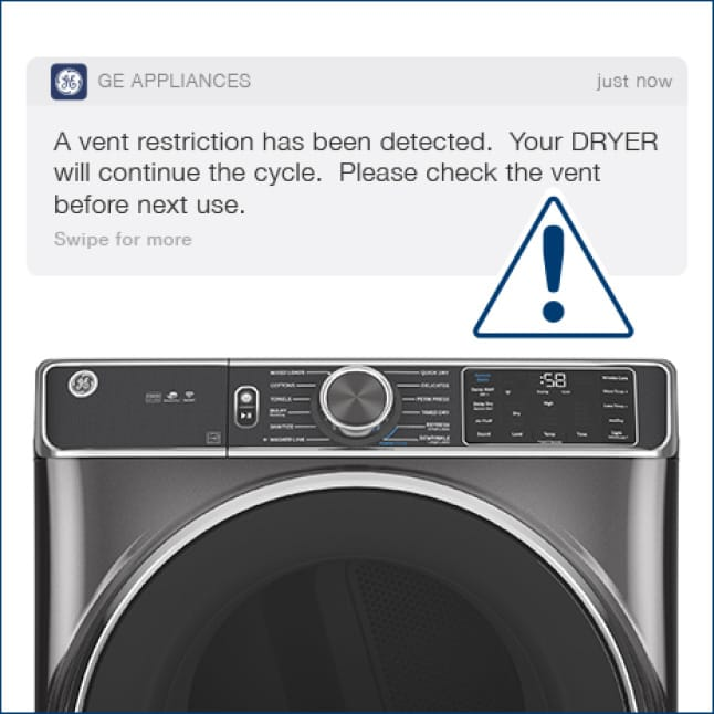 A notification lets the user know that there is a vent restriction in the dryer
