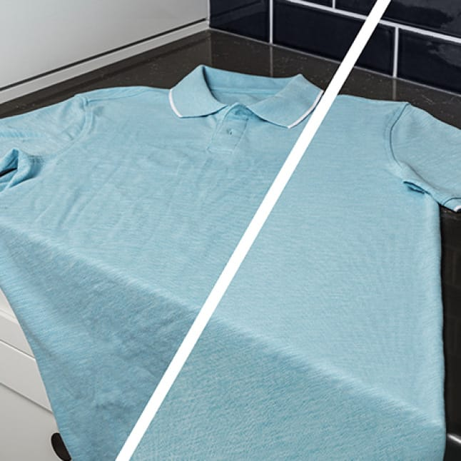 A comparison of a blue shirt is shown with and without wrinkle care.