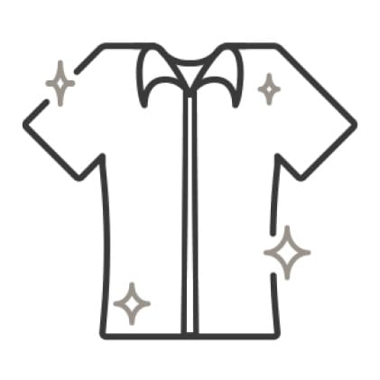 An icon of a sparkling, wrinkle-free shirt