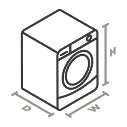 An icon of the appliance viewed from a corner looking down.Lines designate and measure the height, width, and depth of each side