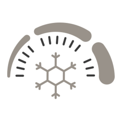 An icon of a speedometer with a snowflake in the center, signifying the fast return to a set temperature with the Turbo Cool and Turbo Freeze modes.
