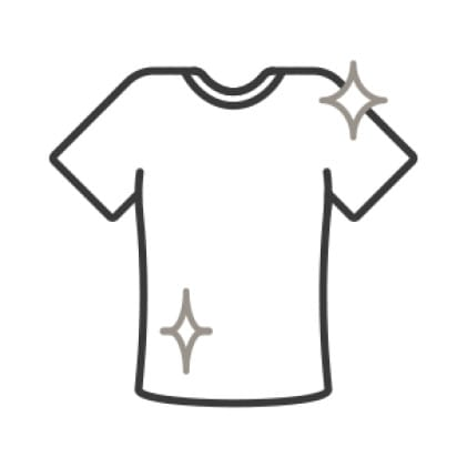 An icon of a sparkling, freshly sanitized tee shirt.