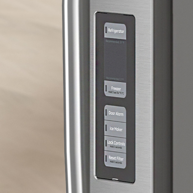 The controls on the side of the door are shown