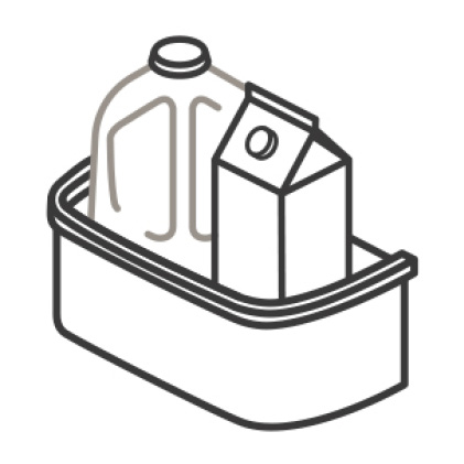 An icon of a door bin. A carton and gallon of milk are placed neatly in the bin.