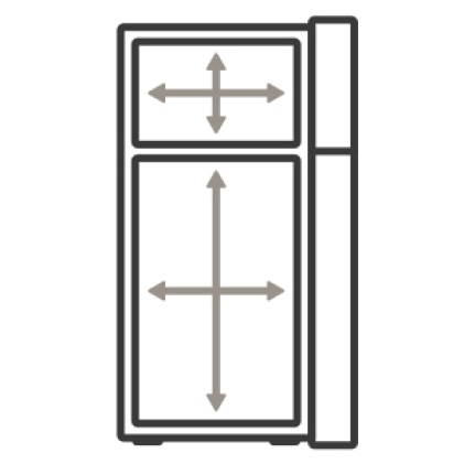 An icon of the refrigerator. Arrows measure the interior capacity of the appliance