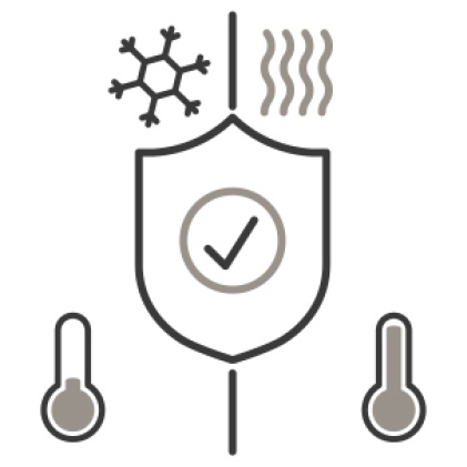 An icon of a shield with a checkmark on the center. A snowflake, heat waves, and thermometers around it demonstrate the appliance's range of operation