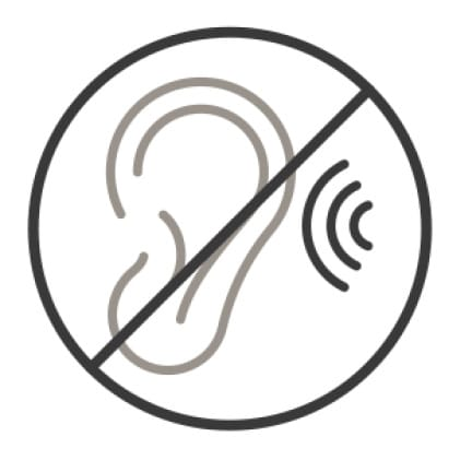 An icon of an ear picking up sound has been struck through, signifying that the sound produced by the dishwasher is not heard.