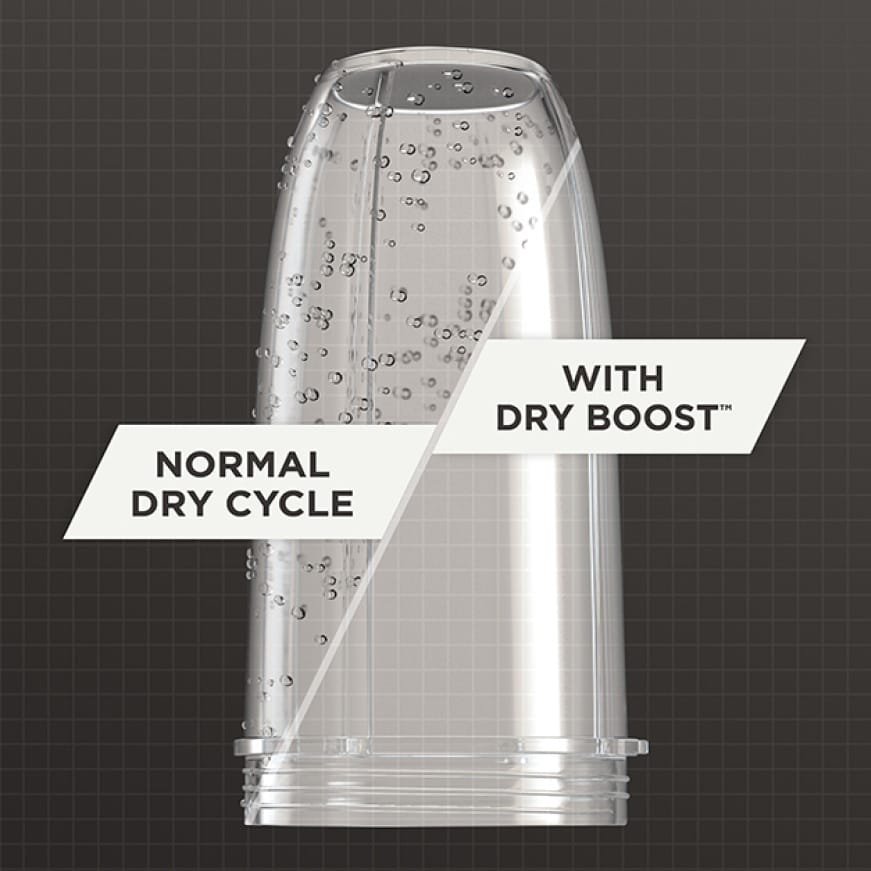 A cup is compared after running with and without dry boost.The normal-dry cup still has water droplets, but the dry boosted cup is dry.
