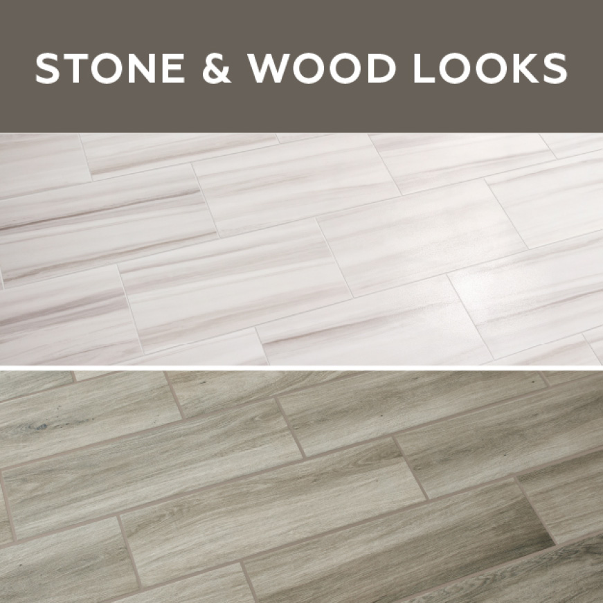 QuicTile by Daltile stone and wood looks