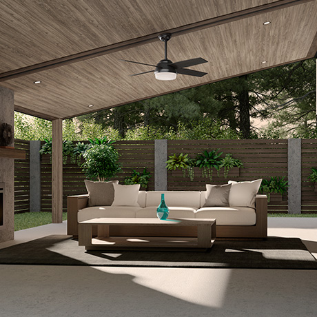 The Hunter Dempsey damp rated ceiling fan with lights in a modern style patio.