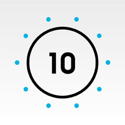 Dryer dial icon with number 10 in center.
