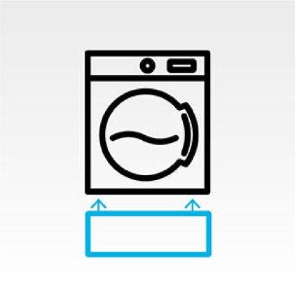 Dryer icon with pedestal icon below.