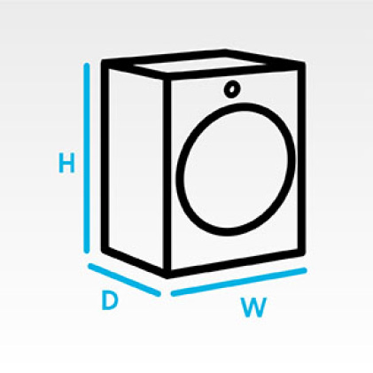 3D dryer icon with height, depth and width labels.
