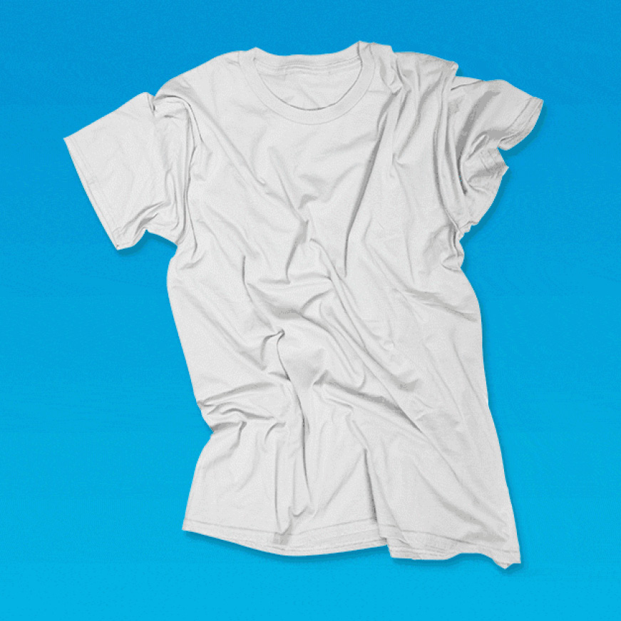Bacteria floats around on white t-shirt. Steam rises over shirt and turns bacteria into sparkles.