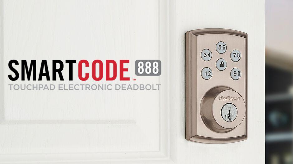 SmartCode 888 deadbolt on white door.