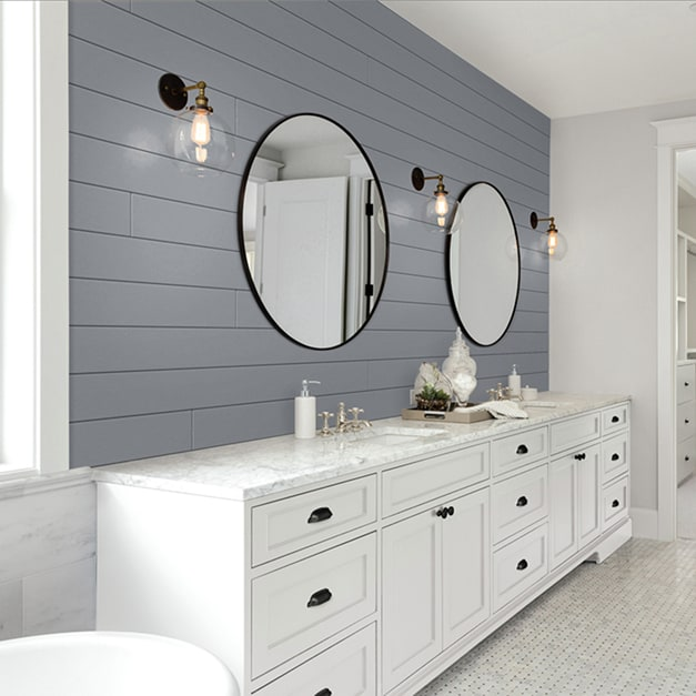 Gray Timeless shiplap installed in a bathroom with white fixtures