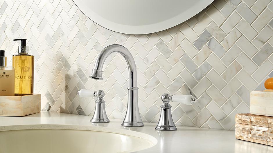Kohler Elmbrook 8 In Widespread 2 Handle Bathroom Faucet: Pfister Courant 8 In. Widespread 2-Handle Bathroom Faucet