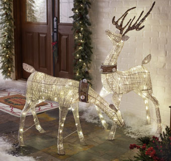 lighted deer statue