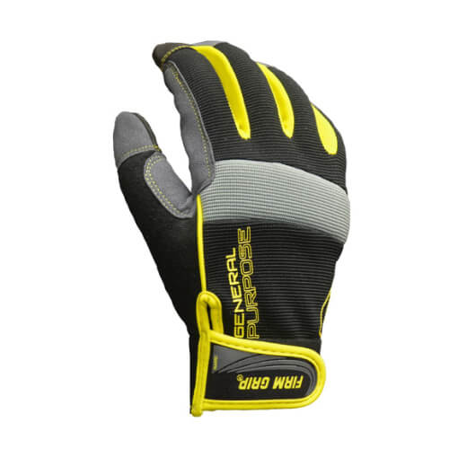 black and yellow padded work glove