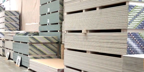 pallets of drywally in warehouse