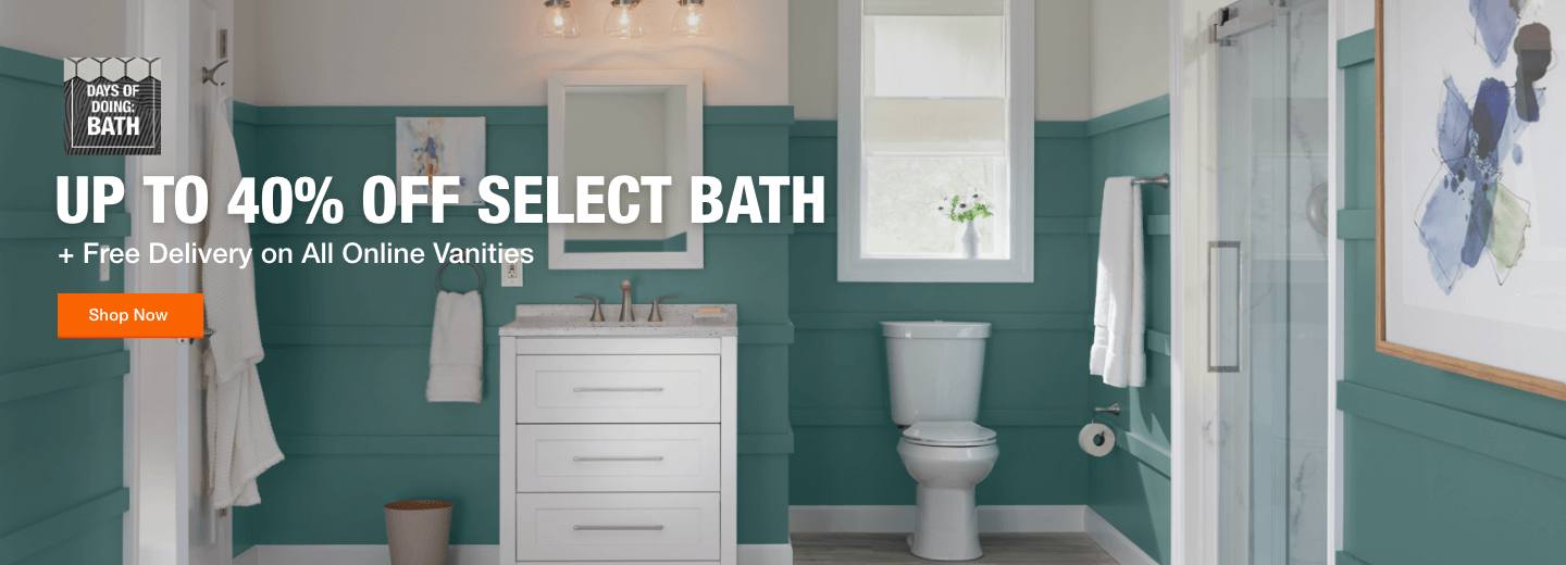 Up to 40% Off Select Bath. + Free Delivery on All Online Vanities