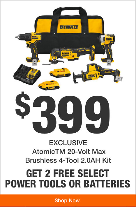 Get 2 Free Tools or Batteries with Purchase of this Atomic 4-Tool Combo Kit ($399)