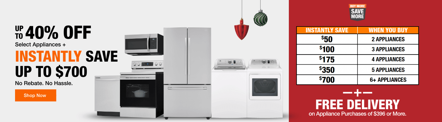 UP TO 40% OFF SELECT APPLIANCES + Instantly Save Up to $700