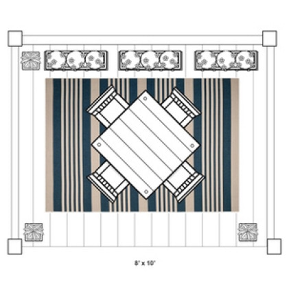 Larger outdoor rugs are a great fit with an outdoor dining set or patio space.
